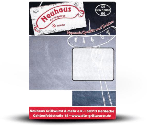 Neuhaus Grillwurst Etikett